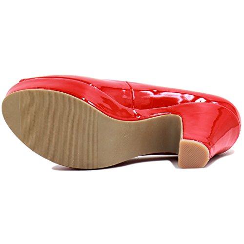 Allegra K Femme Bout Ouvert Talon Épais Semelle Compensée Verni Chaussures red