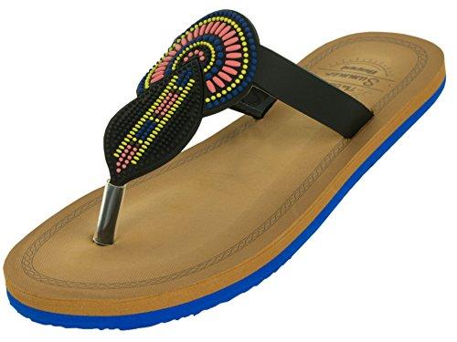 Beppi Zehentrenner Damen Schuhe | Gummi-Sandalen Hausschuhe Sommerschuhe | Luftig Bequem Weich | Größe 41