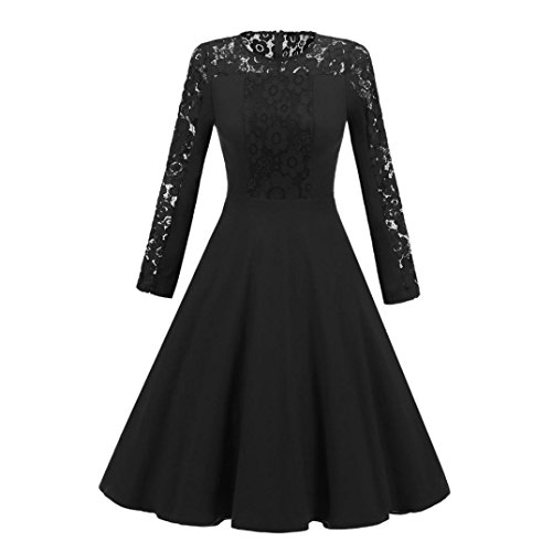 Robe Soirée Dentelle,OverDose Vintage Femme Sexy Manches Longues Robe Cocktail Wedding Dress Noir