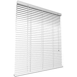 Levivo Aluminium-Jalousie mit Schnurzug, in der Länge individuell kürzbar, Weiß, 60 x 130 cm