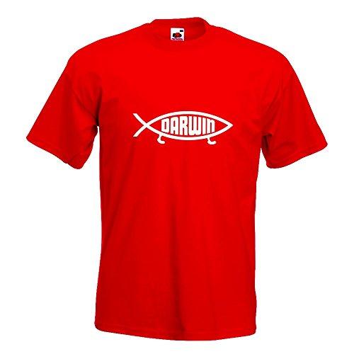 KIWISTAR - Darwin Fisch T-Shirt in 15 verschiedenen Farben - Herren Funshirt bedruckt Design Sprüche Spruch Motive Oberteil Baumwolle Print Größe S M L XL XXL Rot