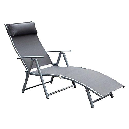 Outsunny sdraio prendisole relax reclinabile pieghevole giardino 137 × 63.5 × 100.5cm grigio