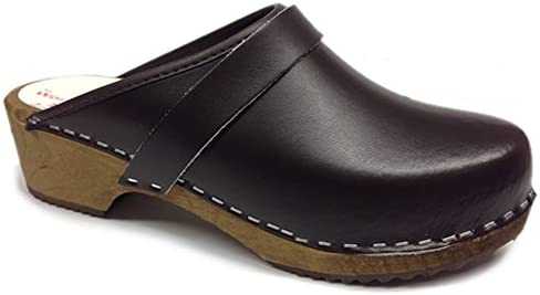 World of Clogs.com Am-Toffeln 100 Madera Zueco EN Piel Marrón