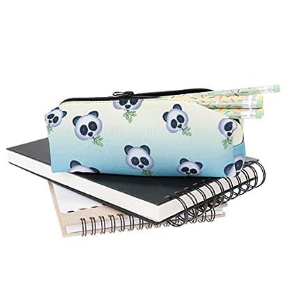 Estuche cuadrado Emoji impresión pluma Organizador Papelería Bolsa con cremallera de viaje holográfica (redondo), diseño de oso panda