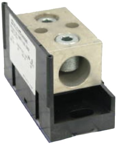 Mersen 63000 Aluminum Open Style Mini Box to Box Power Distribution Block with Adder and 1 Stud, 2/0-#14 Wire Size, 185 Ampere by Mersen