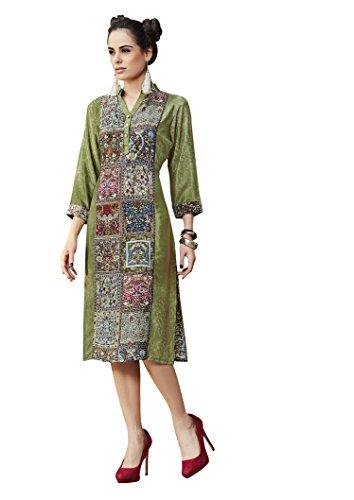Pakistani Crepe Printed Partywear Readymade Green chinese collar 3/4 sleeve kurtis for women