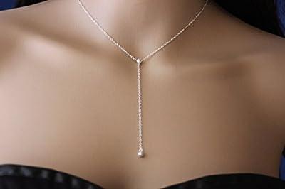 Collier cravate en argent massif pendentif boule - collier Y