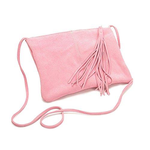 Satchels delle donne Cappuccio della pelle bovina diagonale Cross - moda nappe smerigliate Pink