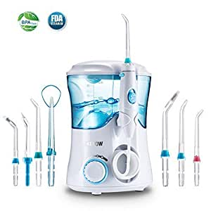 Dental Water Flosser for Teeth,Jkevow Oral Care Irrigator Power Flosser 10 Pressure Settings and 600ml High Capacity with 7 Jet Multifunctional Tips - Family FDA Approved (UK 2-Pin Bathroom Plug)