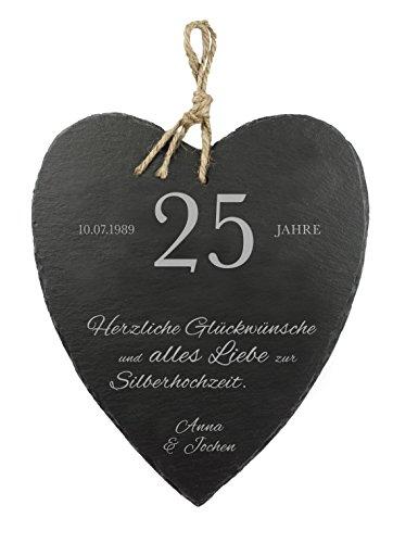 """Großes Schieferherz mit schöner Gravur - """" Silberhochzeit """" - Personalisiert mit [WUNSCHNAMEN] und [DATUM] [MOTIV HERZLICHEN GLÜCKWUNSCH] - 23 cm x 27 cm x 0,6 mm - mit Jute Band zum Aufhängen"""