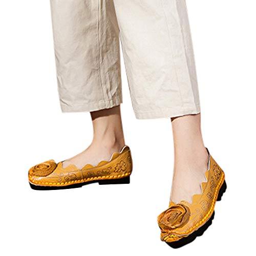 Vovotrade_scarpa Piselli Comodi Vento Nazionale Femminile, Scarpe retrò Fatte a Mano da Donna Piatte con Scarpe Singole Pisello Morbido Fondo in Pelle Scarpe da Barca con Ricamo Fiore Ondulato