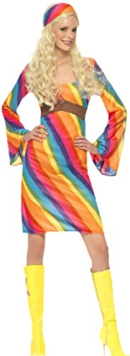 Fancy Ole - Damen Frauen Hippi Regenbogen Kleid Kostüm Karneval Fasching bunt, 40, Mehrfarbig (Disco Ball Kostüm Schmuck)