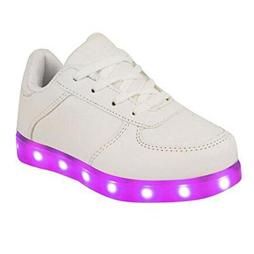 SAGUARO Boy Girl Sneakers USB Charging Flashing Shoes kids LED Luminous Shoes with Colored Laces