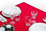 GoldenHome TOVAGLIA Natalizia con Elegante Decorazione AD ARABESCO. TOVAGLIA di Natale Tavolo da 8 O da 12 Persone. (140 x 240 cm, Rosso)