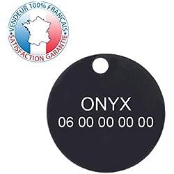 GRAVURE CONCEPT Médaille pour Chien | Médaille gravée Personnalisable | 1 à 3 Lignes (Noir, Rond)