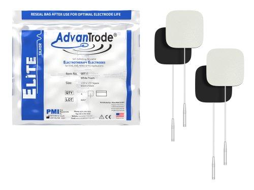 AdvanTrode Premium Silber-Elektroden 45x45 mm für Tens und EMS Geräte mit 2mm Anschluss Buchse, WF11