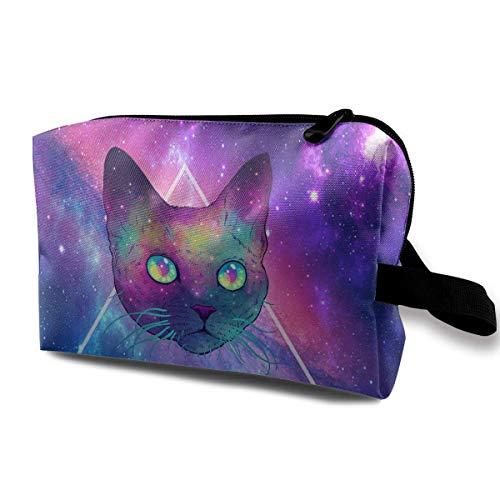 Space Cat Toiletry Bag Womens Travel Cosmetic Bags Lightweight Waterproof  Case