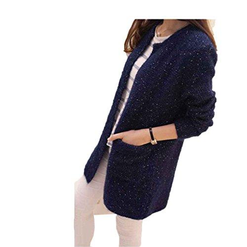 QHGstore Frauen-Strickjacke Mittlere Länge lange Hülse dünne Tasche lose Knit-Frühlings-Herbst-Mantel-Wolljacke Marine