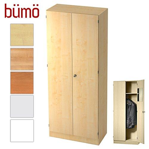 BÜMÖ® Office Garderobenschrank abschließbar aus Holz | Kleiderschrank | Flurschrank | Büroschrank – Büro Schrankwand System (Garderobenschrank, Ahorn/Ahorn)