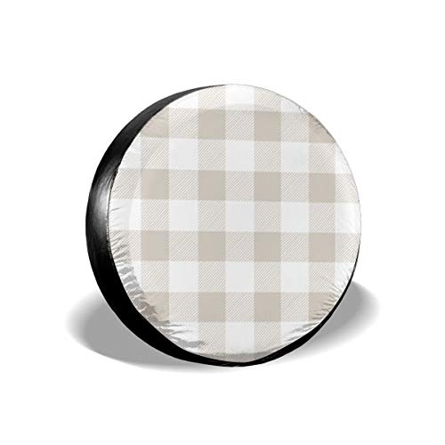 Linen Beige Preppy Buffalo Check Plaid2 14-17 Inch Tire Covers Tire Protection Wheel Tyre Storage Bag