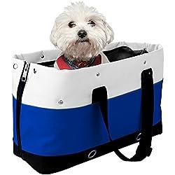 Bolsos para Perros Gato, Iyowin Bolsa Portador de transporte Oxford duradero los agujeros y redes transpirables para mascotas Viaje (Bleu)