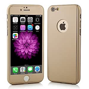 ROKAYA™ Protective Slim Fit 360 Hybrid Body Cover Case with Tempered Glass for Apple iPhone 5 / 5S (Golden)