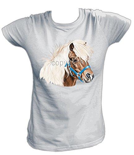Artdiktat Damen T-Shirt - SHETLAND PONY Größe XXL, grau