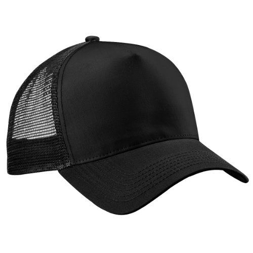 Beechfield - Gorra/Visera hombre/chico Media tejido de abeja transpirable, Negro/Fucsia, Black