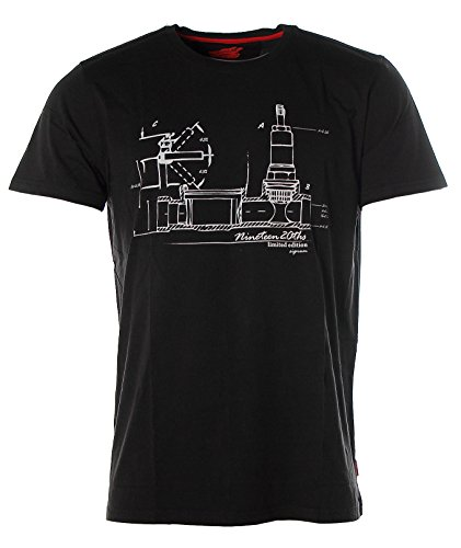 Signum Herren Kurzarm Shirt T-Shirt Rundhals Nineteen Black
