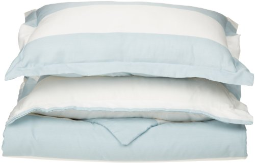 Impressions Superior - Weiches, knitterfestes Bettbezugsset mit Cabana-Streifen, 269 x 234 cm, Fadenzahl 600, Baumwollmischung, hellblau, 3-teilig. -