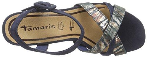 Tamaris 28301, Sandales Compensées femme Bleu (navy Comb 890)