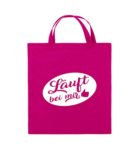 Comedy Bags - Läuft bei mir - KREIS NEGATIV - Jutebeutel - kurze Henkel - 38x42cm - Farbe: Schwarz / Pink Pink / Weiss