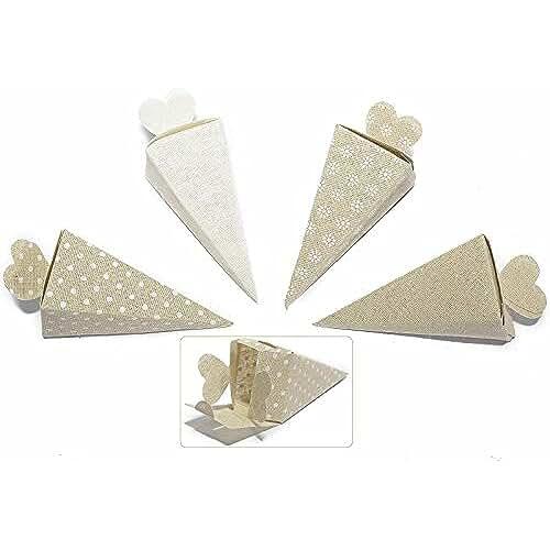 ideas regalos para comuniones kawaii Caja a Cono de algodón con tapa de corazón puerta Confetti y arroz (Pack de 32piezas boda ceremonia bautizo boda
