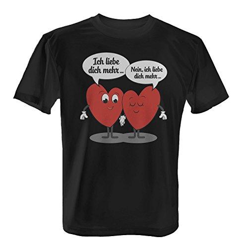 T-Shirt - Ich liebe dich mehr | Fun Shirt mit Spruch als Valentinstag & Jahrestag Geschenk Idee für verliebte Paare, Farbe:schwarz;Größe:XL (Niedlich Jahrestag Ideen)