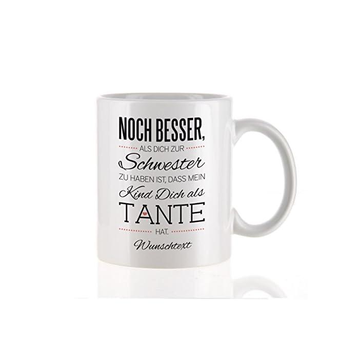 Herz & Heim® moderne Kaffeetasse als Kompliment für die beste Tante mit Gratis Druck Ihres Wunschtextes mein Kind