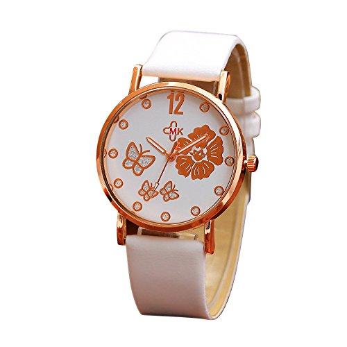IG-Invictus Mode Farbe Strap Digital Dial Lederband Quarz Analog Armbanduhren PD348 Pansy Belt Watch (White)