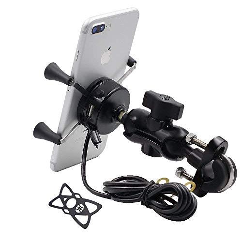 TurnRaise Universal Motorrad Halterung Drehbare Handy-Halter mit USB-Ladegerät für 3.5 to 6 inch Screen -