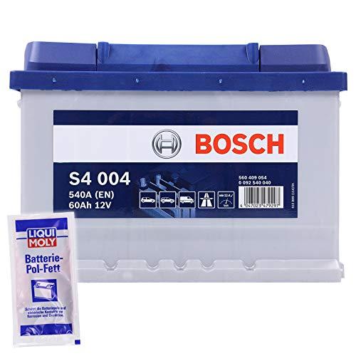Preisvergleich Produktbild BOSCH S4 004 60Ah 12V 540A AUTOBATTERIE STARTERBATTERIE PKW KFZ BATTERIE ERSETZT 55Ah 56Ah 58Ah + 1x BATTERIEPOLFETT