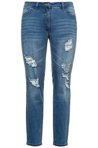 Studio Untold Große Größen Damen Skinny Jeans Destroyeffekten, Blau (Bleached 92), 46 (Plus-size-skinny Jeans Für Frauen)