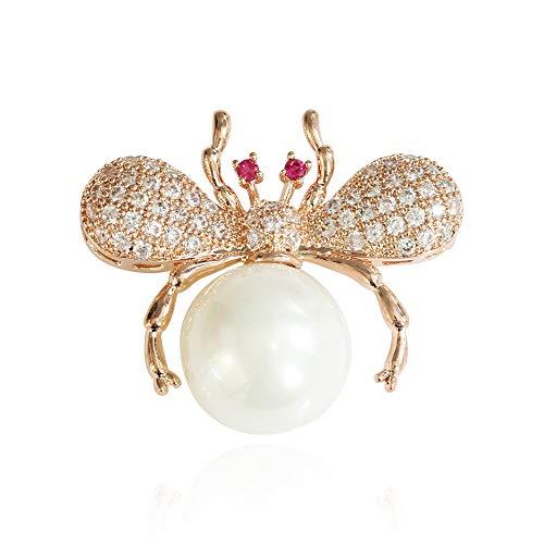 WANZIJING Schottische Brosche, zierliche Biene Brosche Perle Kristall Insekt Brosche Bastelbedarf Französisch Schmuck für Frauen Geschenk,B