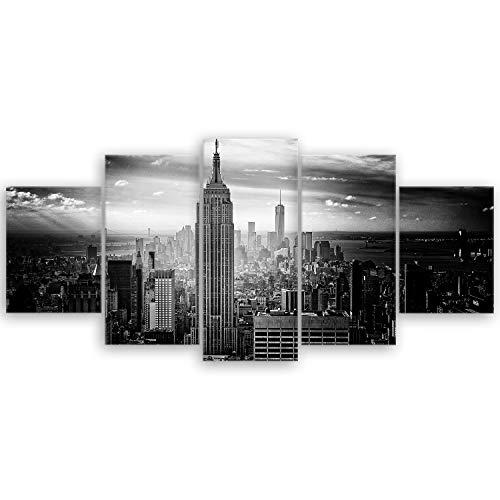 ge Bildet® hochwertiges Leinwandbild - Empire State Building in New York - Schwarz Weiß - 150 x 70 cm mehrteilig (5 teilig)