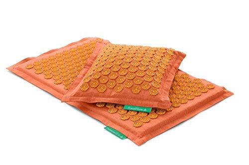 Set - 2 unidades: Pranamat ECO + PranaPillow, La esterilla y la almohada de masaje terapéutico (Naranja / Naranja)