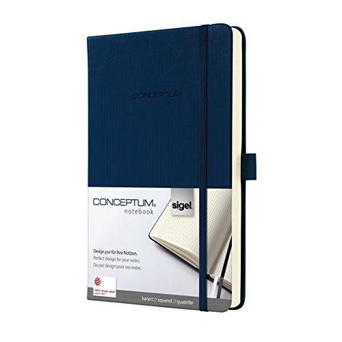 Sigel CO567 Notizbuch, ca. A5, kariert, Hardcover, dunkelblau, CONCEPTUM - viele Modelle (Marine-blau-karierte)
