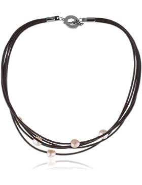 Boccia Damen-Collier Leder, 5 Perlen Kupfer 0838-02