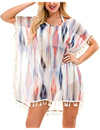 820a09109c078 Womens Beach Bikini Cover Ups Swimsuit Chiffon Tassels Petite Swimwear  Beachwear