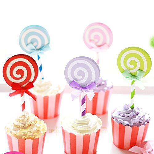 yimosecoxiang 6 Stücke Cake Topper für Geburtstag Hochzeit Bunte Band Lutscher Papier Cake Topper Geburtstagsfeier Cupcake Decor Mehrfarbig