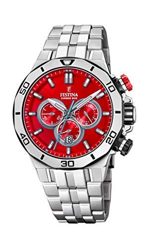 Festina Unisex Erwachsene Chronograph Quarz Uhr mit Edelstahl Armband F20448/B