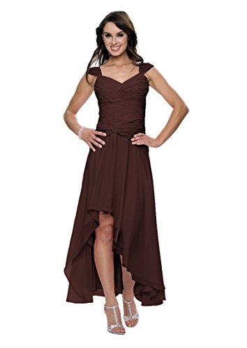 Astrapahl Damen Cocktail Kleid mit schönen Raffungen, Knielang, Einfarbig, Gr. 36, Braun