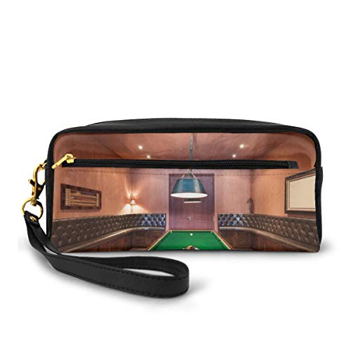 Pencil Case Pen Bag Pouch Stationary,Entertainment Room In Mansion Pool Table Billiard Lifestyle Photo Print,Small Makeup Bag Coin Purse