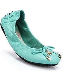 GLTER Zapatillas de ballet plegables para mujer Aros Zapato en forma de cuero genuino , duke blue , 36